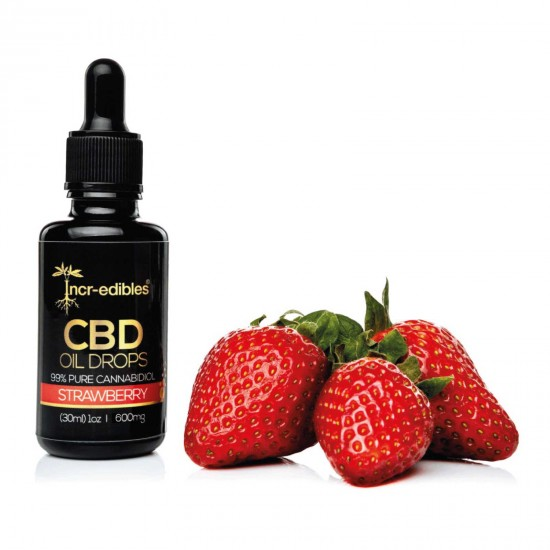 Strawberry CBD Oil Drops 1200mg by Incr-edibles